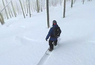 Gemütlich mit dem Snowboard durch den Wald