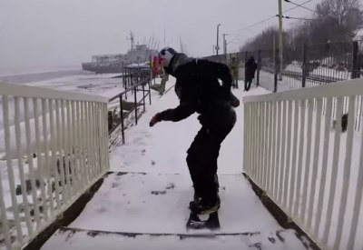 Urban snowboarding in Essex