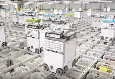 Roboter kommissionieren Lebensmittelbestellungen