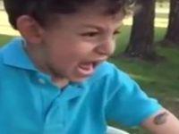 Frosch fällt Jungen an