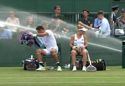 Wenn der Rasensprenger in Wimbledon kurz eskaliert