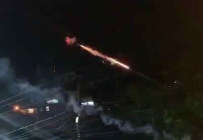 Spaß mit Drohne und Feuerwerk
